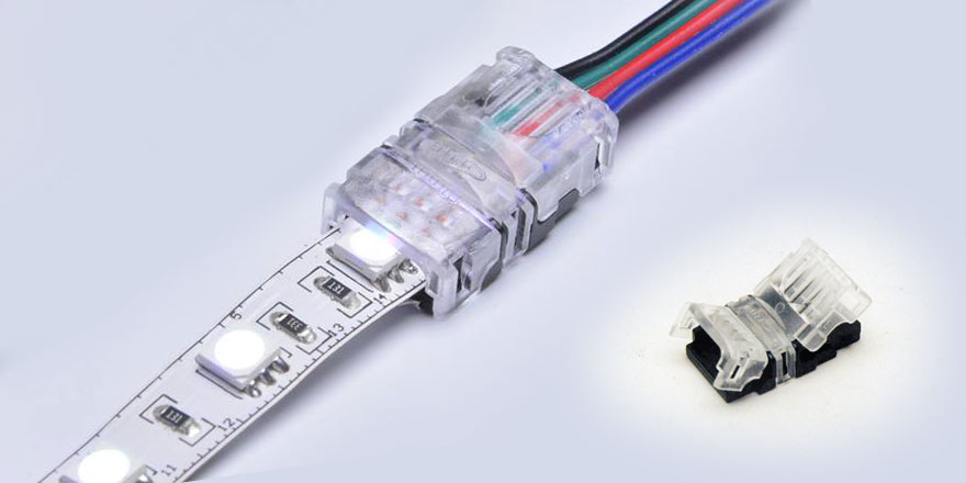 4 Pin RGB Strip to Power Clamp Connector – CL10XB-4