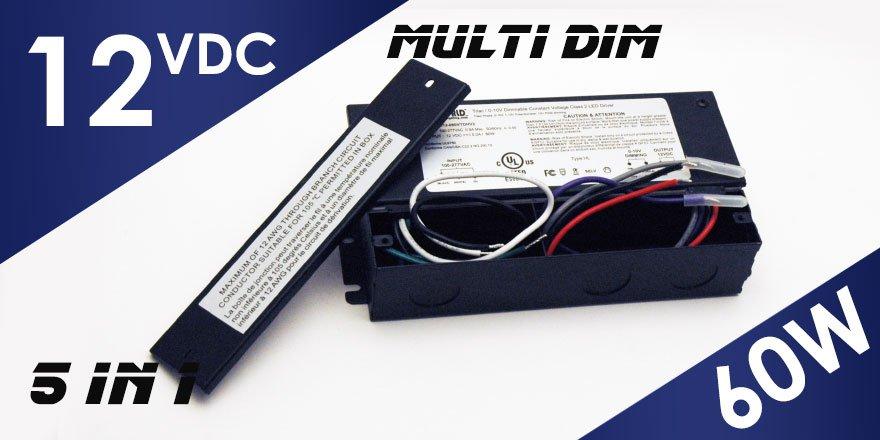 60W 12VDC Class 2 Triac/0-10V Dimmable LED Driver MD-012-060VTDHV2