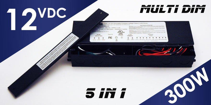 300W 12VDC Class 2 Triac/0-10V Dimmable LED Driver MD-012-300VTD52JV2