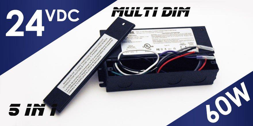 60W 24VDC Class 2 Triac/0-10V Dimmable LED Driver MD-024-060VTDHV2