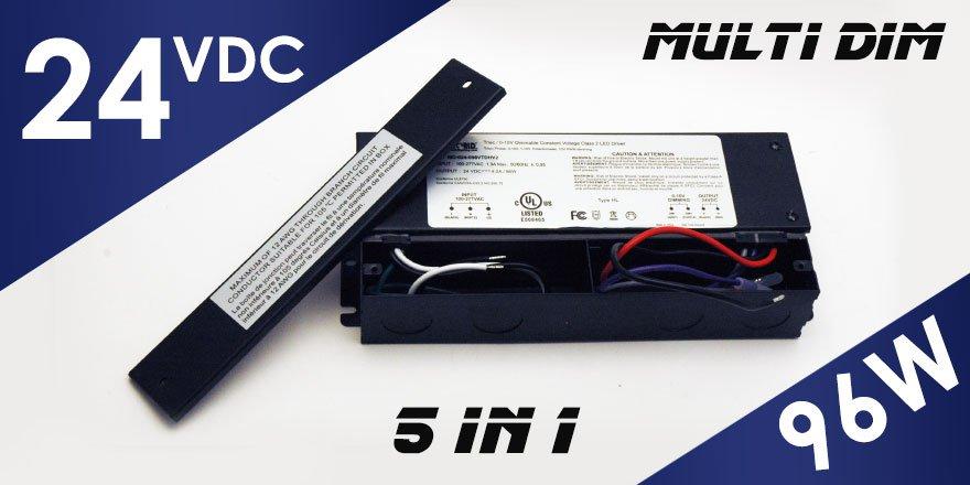96W 24VDC Class 2 Triac/0-10V Dimmable LED Driver MD-024-096VTDHV2