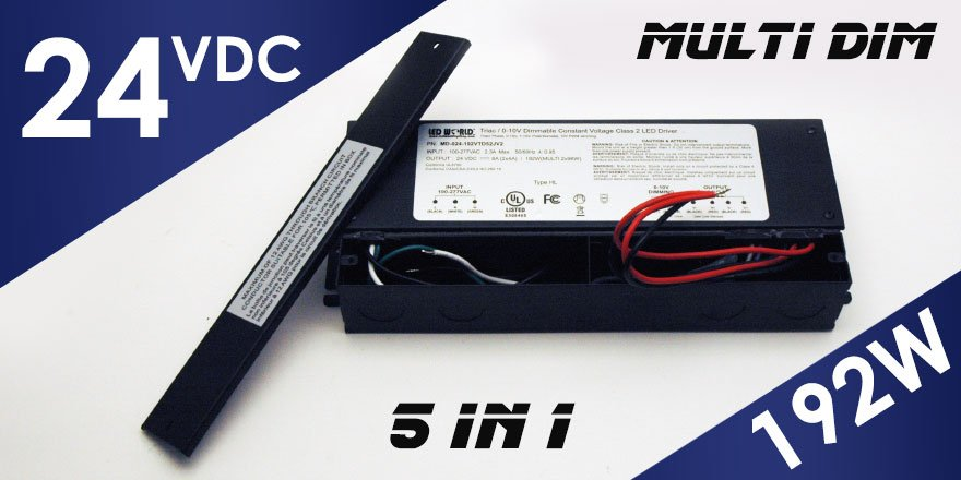 192W 24VDC Class 2 Triac/0-10V Dimmable LED Driver MD-024-192VTD52JV2