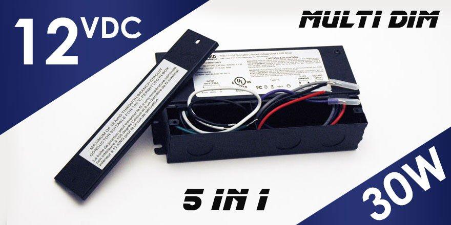 30W 12VDC Class 2 Triac/0-10V Dimmable LED Driver MD-012-030VTDHV2