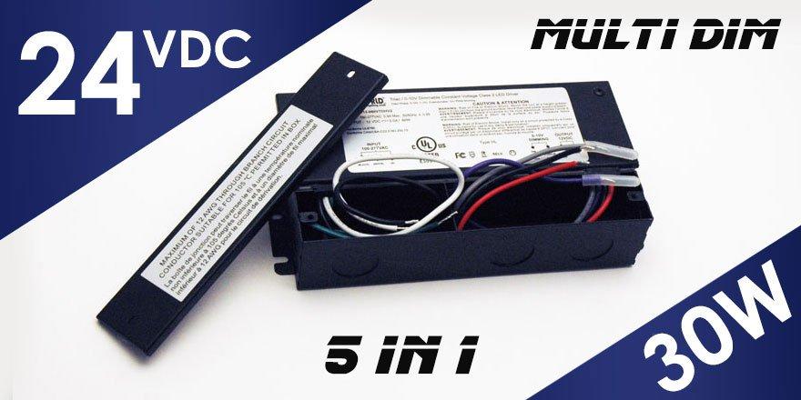 30W 24VDC Class 2 Triac/0-10V Dimmable LED Driver MD-024-030VTDHV2